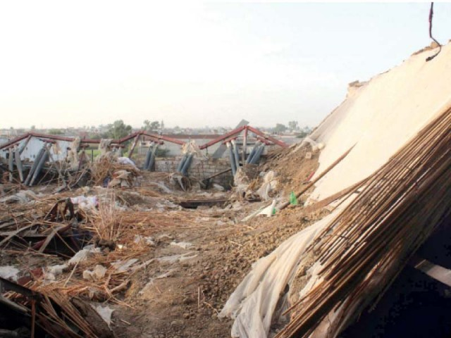 The dilapidated building after the roof collapse. PHOTO: ZAHOORUL HAQ/EXPRESS