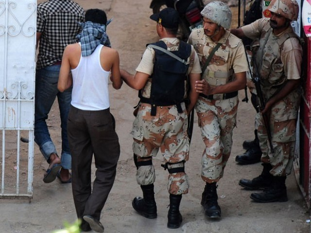 Efforts to improve law and order and eliminate terrorists and hardcore criminals are aimed at giving a peaceful and secure environment to people of Karachi. PHOTO: AFP