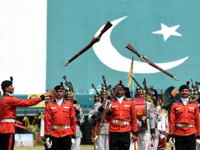 Rangers march during celebrations to mark the country s Defence Day in Lahore on September 6, 2015. PHOTO: AFP