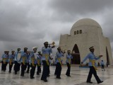 Pakistan Air Force cadets march next to the mausoleum of Mohammad Ali Jinnah to mark the country s Defence Day in Karachi on September 6, 2015. PHOTO: AFP