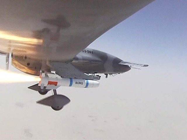 This television screen grab shows UCAV Burraq launching the laser-guided missile Burq.