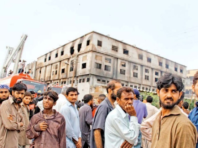 Over 250 workers perished in the fire at a garment factory in Baldia exactly three years ago. PHOTO: FILE
