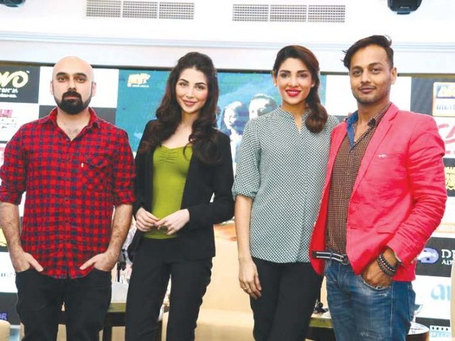 Jaswal with actors Sabeeka Imam and Zhalay Sarhadi at a promotional event for Jalaibee. PHOTOS: PUBLICITY