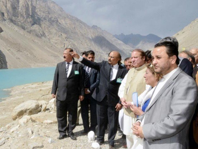 Prime Minister Nawaz Sharif inaugurates tunnels over Attabad Lake in Gilgit-Baltistan on September 14, 2015. PHOTO: PID