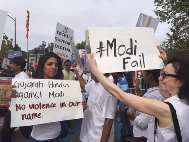 Protesters hold a protest against Indian Prime Minister Narendra Modi who recently visited Silicon Valley and met Facebook CEO Mark Zuckerberg. PHOTO: TWITTER