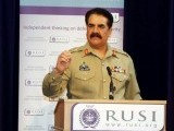 Army chief General Raheel Sharif addresses The Royal United Services Institute for Defence and Security Studies in London on Friday. PHOTO: ISPR