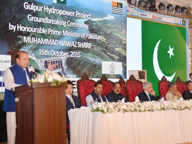 Prime Minister Nawaz Sharif addresses the ground breaking ceremony of Gulpur Hydropower project in Azad Kashmir on October 12, 2015. PHOTO: PID