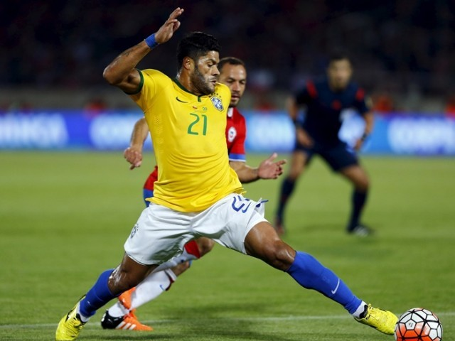 Hulk during their 2018 World Cup qualifying soccer match in Santiago, Chile, October 8, 2015. PHOTO: REUTERS