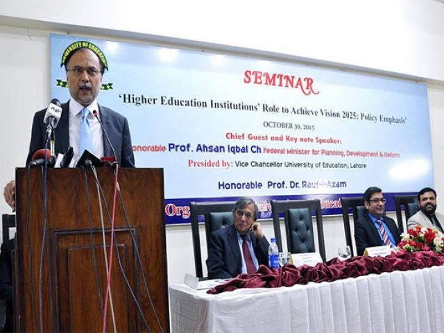Federal Minister for Planning, Development and Reform Ahsan Iqbal addressing the seminar. PHOTO: APP