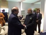 Prime Minister Nawaz Sharif shakes hands with Indian Prime Minister Narendra Modi in an informal meeting at the UN climate summit in Paris on November 30, 2015. PHOTO: TWITTER