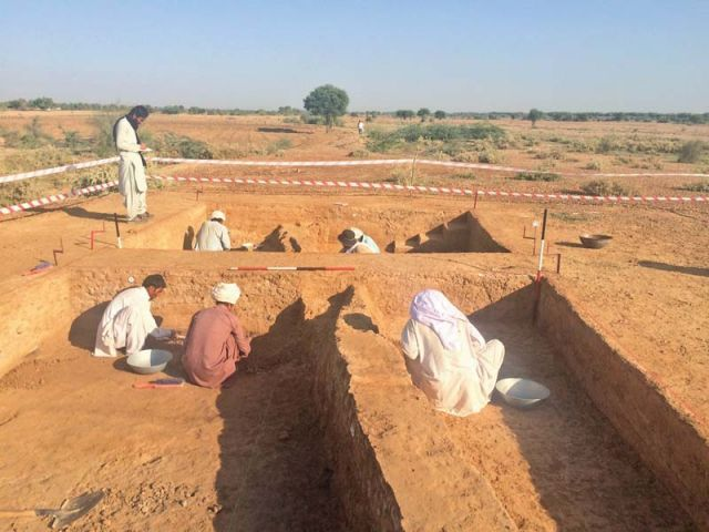 Locals search for artefacts at an excavation site in Sikandar South, DI Khan. PHOTO: EXPRESS