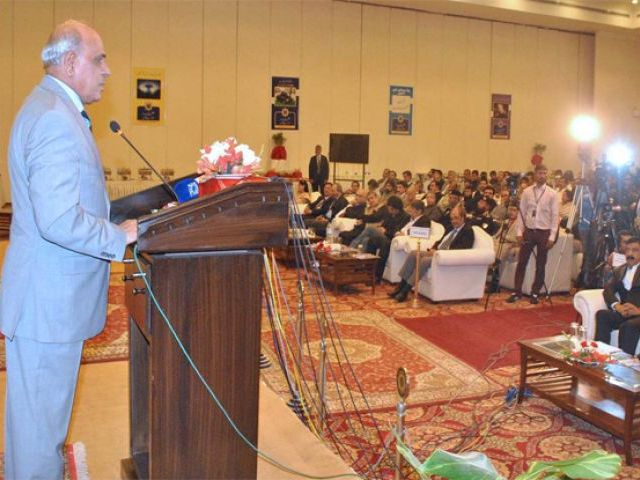 "Governor Rafique Rajwana addressing during a Road Safety Seminar ""Traffic Discipline and Safety"" organized by NHMP. PHOTO: APP"
