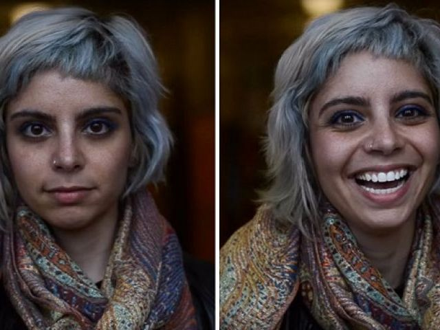 The difference in the pictures taken before and after the compliment shows genuine reactions of people.