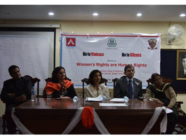 Seminar speakers call for education of young girls on their legal rights. PHOTO: fb.com/WRCPak