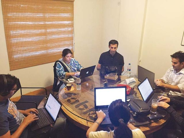 Participants at the final write-in session at T2F in Karachi. PHOTO CREDITS FARHEEN ZEHRA
