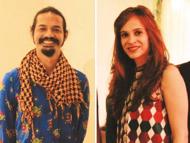 Zeeshan Muhammad, Kiran Asad. KMC's cultural department hosts an exhibition at Sadequain Gallery in Karachi. PHOTOS COURTESY PHENOMENA PR