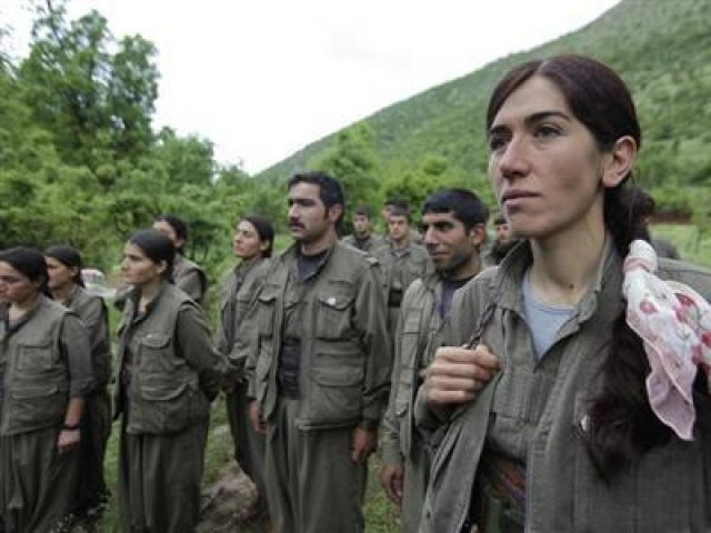 Kurdistan Workers Party (PKK) fighters stand in formation in northern Iraq. PHOTO: REUTERS