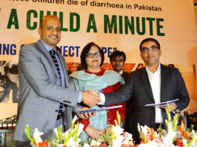 RB Pakistan CEO Shahzeb Mehmood launches the 'Save a Child a Minute' sanitation and hydfgine campaign. PHOTO: EXPRESS