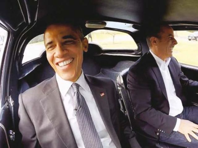 Seinfeld chose a silver blue 1963 Corvette Stingray for the ride with Obama. PHOTO: PUBLICITY