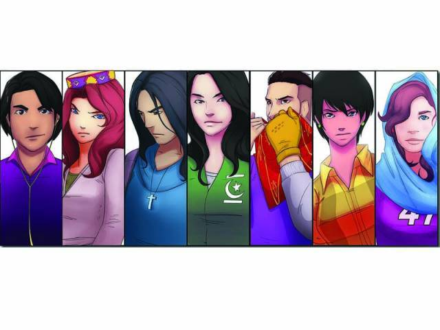 All the characters in the comic book belong to different religions and ethnic backgrounds. PHOTO BY ARIF SOOMRO