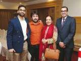 Amer Dadabhoy, Usman Mujtaba and Mashal with a guest. The Aman Foundation collaborates with Harvard South Asia Initiative to organise a conference on mental health in Karachi. PHOTOS COURTESY CATWALK PR