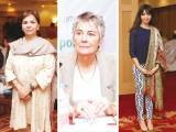 Saadia Quraishy, Jennifer Leaning and Shaja Sarfaraz. The Aman Foundation collaborates with Harvard South Asia Initiative to organise a conference on mental health in Karachi. PHOTOS COURTESY CATWALK PR