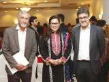 Sohail Thobani, Sharmeen Khan and Shehryar Ahmad. The Aman Foundation collaborates with Harvard South Asia Initiative to organise a conference on mental health in Karachi. PHOTOS COURTESY CATWALK PR