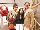 Uzma Baig, Iman Baig and Jamil Baig.. Natasha Kamal launches her label in Karachi. PHOTOS COURTESY IMPERIAL MANAGEMENT SERVICES
