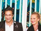 Waseem Akram and Shaniera Thompson. Fireball launches Chunky Monkey amusement park in Karachi. PHOTOS COURTESY ANASTASIA PR