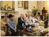 Sindh Chief Minister Qaim Ali Shah speaking to reporters at the Chief Minister's House. PHOTO: EXPRESS