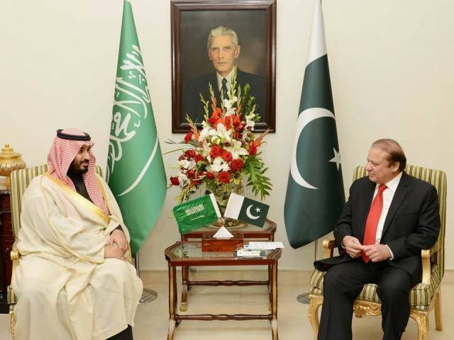 Saudi defence minister calls on Prime Minister Nawaz Sharif PM House Islamabad on January 10, 2016. PHOTO: PID