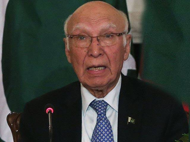 A file photo of Adviser to the Prime Minister on Foreign Affairs Sartaj Aziz. PHOTO: AFP