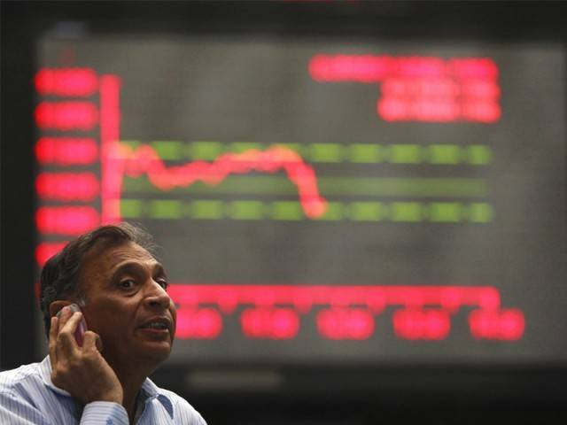 Benchmark KSE-100 index falls 54.40 points PHOTO: AFP/FILE