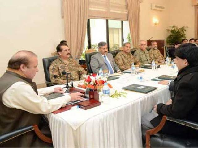 PM Nawaz Sharif chairing a high-level meeting to review the prevailing security situation at PM House on January 13, 2016. PHOTO: PID