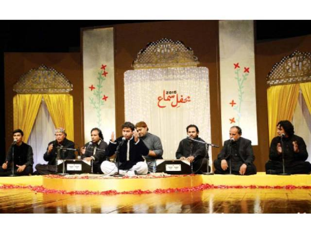 Sher Miandad and Nadeem Jamil along with their ensembles perform at the Mehfil-e-Sama. PHOTO: HUMA CHOUDHARY/Express