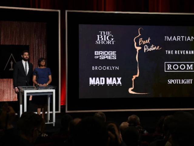 A screen showing the Oscar nominees for Best Picture as announced by actor John Krasinski and Academy President Cheryl Boone Isaacs in Beverly Hills, California on January 14, 2016. PHOTO: AFP