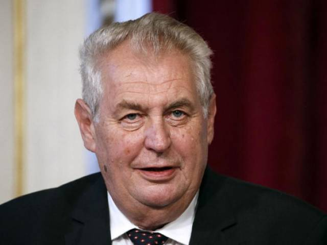 Czech President Milos Zeman, pictured on September 9, 2014, has repeatedly spoken out against the surge of migrant and refugee arrivals in Europe PHOTO: AFP