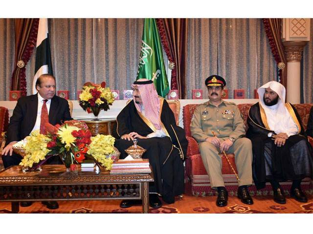 Prime Minister Nawaz Sharif and Army chief General Raheel Sharif in a meeting with Saudi King Salman bin Abdulaziz in Riyadh on January 18, 2016. PHOTO: PM OFFICE