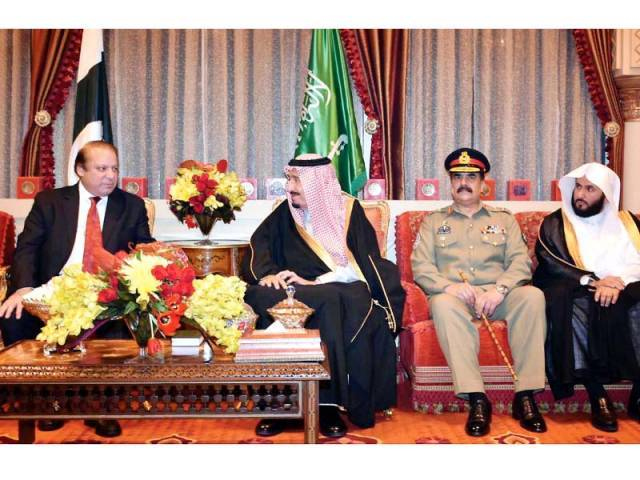 Saudi King Salman bin Abdulaziz meets PM Nawaz and Gen Raheel at the Royal Palace in Riyadh. PHOTO: INP