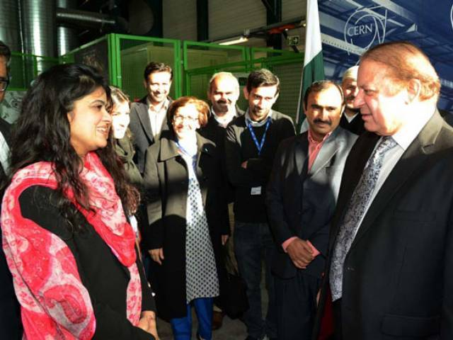 Prime Minister Nawaz Sharif interacting with Pakistani scientists during his visti to CERN. PHOTO: PID