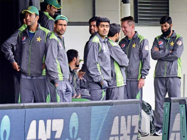 Pakistan players headed back for their hotels after only half an hour, certain that the match will be washed out by the unrelenting rain. PHOTO: AFP
