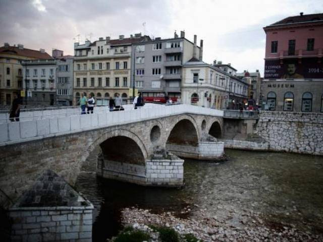 The Latin Bridge and street corner in front of the historical landmark, where Archduke Franz Ferdinand and his wife Sophie were assassinated, in Sarajevo June 24, 2014.PHOTO: REUTERS