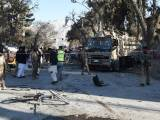 Soldiers examine the site of a bomb explosion that targeted a security convoy in Quetta on February 6, 2016. PHOTO: AFP