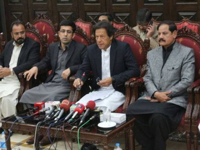 Imran Khan addresses a press conference in Peshawar on February 9, 2015. PHOTO: PTI