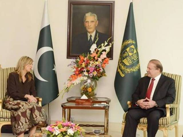 Queen Maxima of the Netherlands called on Prime Minister Nawaz Sharif at PM House, Islamabad on February 9, 2016. PHOTO: PID