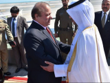 PM Nawaz Sharif being received by Prime Minister of Qatar Sheikh Abdullah Bin Nasir Bin Khalifa Al-Thani at Hamad International Airport, Doha on February 10, 2016. PHOTO: PID