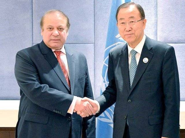 In this file photo, PM Nawaz Sharif meets UN Secretary General Ban-Ki moon. PHOTO: AFP