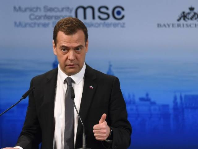 Dmitry Medvedev speaks at the Munich Security Conference on February 13, 2016 . PHOTO: AFP