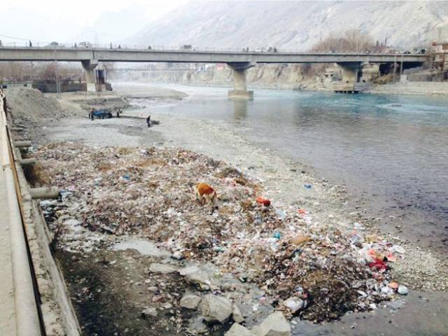 Gilgit River water a reservoir of faecal content, Salmonella, chemical waste. PHOTO: NAZAKAT ALI