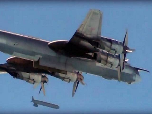 Russian Defence Ministry images from November 2015 show a Russian fighter plane dropping a cruise missile during an airstrike in Syria. PHOTO: AFP